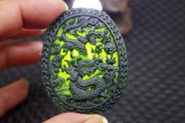 Carved Jade Red Pendants Australia - Chinese Natural black jade carved Zodiac dragon statue jade pendant