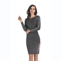 30a39e43c9 Women Split Button Decorative Knit Dress 2018 New Ladies Bodycon Dresses  Female Brief Elegant Tights Skirts
