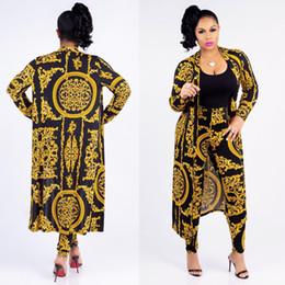 Diseñador de nueva moda clásico negro de oro de impresión de gran tamaño manto sexy slim pantalones damas conjunto 9115