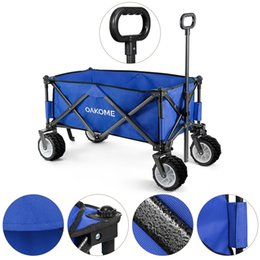 cart frame Australia - Oakome Outdoor Collapsible Cart Versatile Wagon Trolley with 4 Wheels   Reinforced Steel Frame   Sturdy 600D Jean Cloth