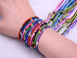 Wholesale 4 colors Rainbow rope line national wind polyester handmade woven transport colorful line bracelet diy jewelry