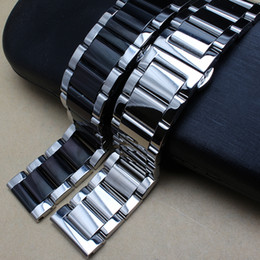 Wholesale Polished Metal Black Silver Watchband mm mm mm Stainless Steel Watch Band Strap Men Silver Bracelet Replacement Solid Link T190620