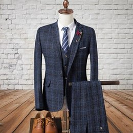 $enCountryForm.capitalKeyWord NZ - 2019 Wedding Tuxedos Navy Blue Check Slim Fit Men's Suits Formal British Plaid Groom Tuxedos Custom Made Jacket Pants Vest