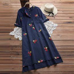 Robes 5xl online shopping - Vintage Embroidery Summer Long Top Cotton Asymmetrical Linen Knee High Shirt Vestido Female Plus Size Blusas Kaftan Robe Xl