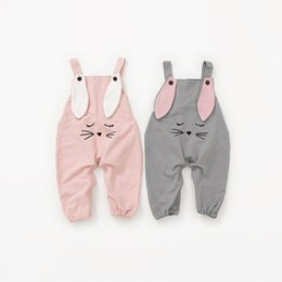 Toddler Overalls Girls NZ - Baby Boy Pants Girls Cotton Autumn Newborn Suspender Pants Baby Rabbit Ear Trousers for Toddler Baby Overalls Free Drop Shipping