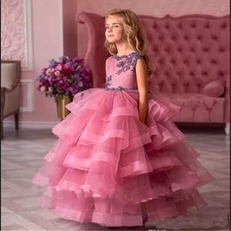 Tiered Wedding Cupcakes Australia - Cupcake Pageant Party Dresses For Girls Tiered Ruffles Sweep Train Lace Appliques Flower Girl Dresses Girl Formal Gowns