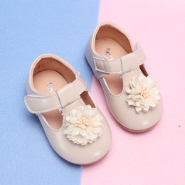 rubber shoes for girl size 25 2019 - Baby kids Flower Casual Shoes Toddler for girls Party Anti-slip T-Strap Flat Shoes Baby Spring New Size 15-25 cheap rubb