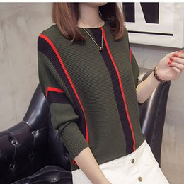 cotton knit tops NZ - Women Sweaters Women Designer Sweater Striped And Pullovers 2019 Fall Fashion Female New Arrival Knitted Tops Loose Cotton Pull Jumper