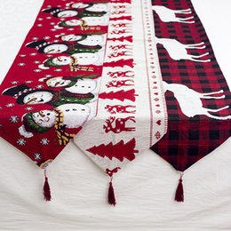 christmas table cloth runner NZ - Christmas Cotton Embroidered Deer Table Runners Cloth Cover Christmas Decorations For Home Xmas New Year Decor navidad 2020 noel