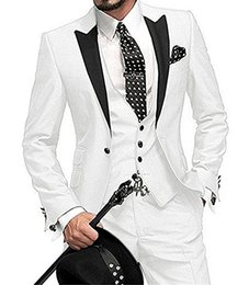 $enCountryForm.capitalKeyWord Australia - Fashionable Groom Tuxedos White Groomsmen Peak Black Lapel Best Man Suit Wedding Men Suits Bridegroom ( Jacket+Pants+Vest+Tie ) A482