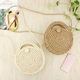 Straw Hands Bag Australia - Round Paper Rope Beach Shoulder Bag Summer Mini Vintage Handmade Crossbody Straw Hand Bag Girl Circle Rattan Bags Small Bohemian