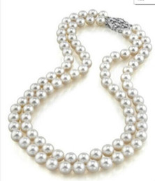 Pearl Double Strand UK - necklace Free shipping +++ NEW 0015159 double strand 8-9mm south sea white pearl necklace
