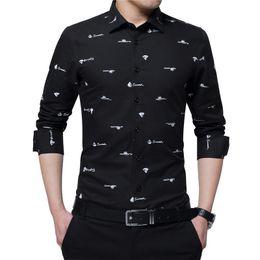 $enCountryForm.capitalKeyWord Australia - Browon Four Season New Arrival 100% Cotton Men Print Shirt Long Sleeve Boat Print Formal Designer Shirt Squared Collar Men Cloth