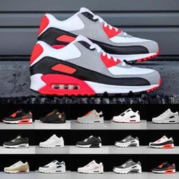 Опт Новые мужчины женская обувь классический 90 мужчин и женщин кроссовки черный красный белый спортивный тренер на воздушной подушке поверхность дышащая спортивная обувь 36-46