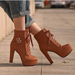 $enCountryForm.capitalKeyWord NZ - Masorini Ankle Boots for Women Platform High Heels Female Lace Up Shoes Woman Buckle Short Boot Casual Ladies Footwear X-007