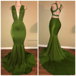 green lace sequin NZ - New Arrival Mermaid Olive Green Prom Dresses Long Lace Sequin Backless Deep V Neck Party Dress 2018 Sweep Train Evening Gowns