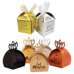 gold candy boxes UK - 50pcs Eid Mubarak Candy Box Gold Silver Laser Cut Ramadan Kareem Gift Boxes Muslim Festival Happy EID Party decoration Supplies