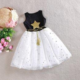 Princess One Piece White Dress Australia - Princess Style Little Kids Girls Cotton Chiffon One Piece Dress Theme Stars Sequins Tulle Bow Dress Tutu