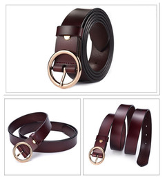 wholesale simple belt buckles NZ - Fashion simple new circle pin buckle belt simple leather belt ladies round buckle thin belt women's clothing