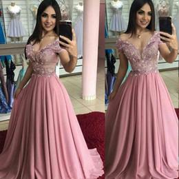 Light brown chiffon evening dress online shopping - 2020 A Line Evening Dresses Maxi Party Gown Seep V Neck Prom Dress Chiffon Beaded Lace Beach Wear