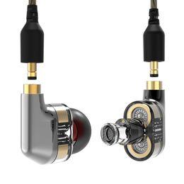 double basses 2019 - 3.5mm In Ear Earphone Double Dynamic Drive HIFI Headphone Bass DJ Metal Earphone MMCX Headset Earplug cheap double basse