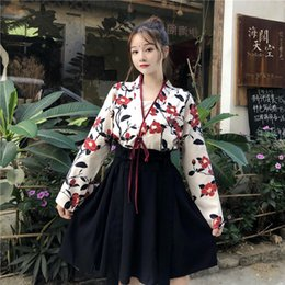 japanese kimono women cosplay NZ - Women Japanese Kimono Bushido Cardigan Bandage Kimonos Riding Coat Yukata Large Sleeve Wind High Waist Blet Dresses Cosplay