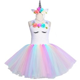 fancy tutus for girls Canada - Pastel Unicorn Tutu Dress Girl Kids Flower Birthday Party Dress Tulle Fancy Dress For Children Purim Christmas Halloween Costume Y19061303