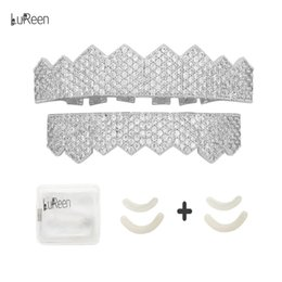 Silver Grillz NZ - LuReen Gold Silver Pave Full CZ Iced Out Teeth Grillz Set 8 Teeth Top and Bottom Grillz Set + EXTRA Molding Bars