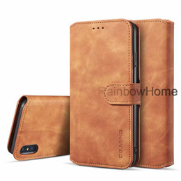 leather case iphone id Australia - Retro Oil Leather Wallet Case Cover Card Slot ID Stand Strap For iphone 11 Pro XR XS MAX 8 Plus Samsung S9 S10E Note 10