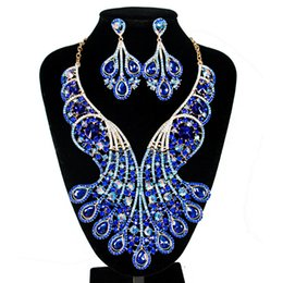 Shinning Silver Green Red Blue Crystals Jewelry 2 Pieces Sets Necklace Earrings Bridal Jewelry Bridal Accessories Wedding Jewelry T301444