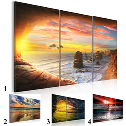 Pictures Gifts Australia - 5 Panel Modern Printed Sea Wave Landscape Painting Picture Canvas Art Seascape Painting for Living Room No Frame No Frame Gift Oil Picture P