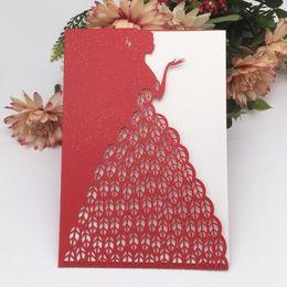 $enCountryForm.capitalKeyWord Australia - 15PCS Laser Cut Invitation Cards Supplies Wedding Invitation Card Dressing Girl Pattern Engagements Gender Reveal Supplies