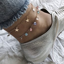 sexy foot chain ankle NZ - High quality Lady Two Layer Star Pendant Chain Ankle Anklet Bracelet Sexy Colorful Zircon Barefoot Sandal Beach Foot Jewelry