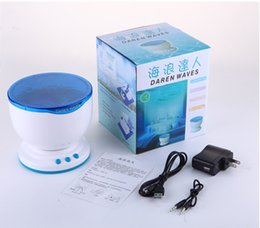 led speaker packaging Canada - Free Shipping New Aurora Marster LED Night Light Projector Ocean Daren Waves Projector Lamp With Speaker Including Retail Package led lights