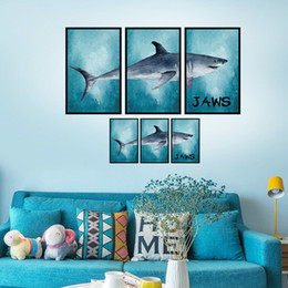 $enCountryForm.capitalKeyWord NZ - Frame Wall Decor Great White Shark Wall Stickers for Drawing Room Living Room Home Decor Jaws Poster Mural Wallpaper Wall Decals