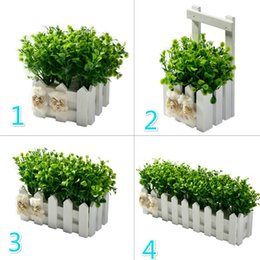 $enCountryForm.capitalKeyWord Australia - Fake Flower Plant Peppermint Grass +White Fence Artificial Flowers For Wedding Party Decoration Simulation Flower Pot Set Decor
