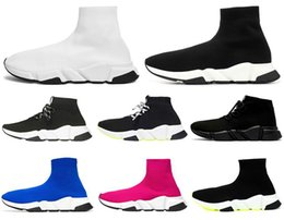 pink glitter shoes NZ - Fashion Designer Sock Shoes Triple Black White Men Women Chaussures Glitter Volt Blue Pink Mens Trainers Runner Platform Casual Sneakers