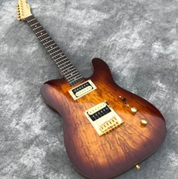 tuner free 2019 - In Stock One piece Mahogany Electric guitar, Brown Burst Spalted Maple, Grover Tuners Guitarra, Abalone dots inlay Free