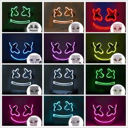 $enCountryForm.capitalKeyWord Australia - DJ Marshmello Mask 10 Colors Luminescent LED Mask Smile Face Mask Party Celebration Props 2 Pieces ePakcet