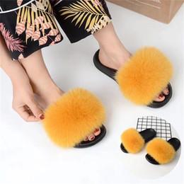 $enCountryForm.capitalKeyWord Australia - Bravalucia Fahion Real Fox Hair Autumn Winter Slippers Womens Fur Home Slippers Fluffy Sliders Plush Furry Home Shoes Womens modi