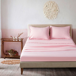 $enCountryForm.capitalKeyWord Australia - Water Wash Bedding Set Solid Pink Flat Sheet Fitted Sheet Pillowcase Bed Sheets 4-Piece Queen Natural Old Effect Bedclothes