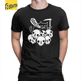 Black Shirt Loose Skull Australia - Cat Got Your Soul Skulls Grim Reaper Loose Men's Fun Pure Cotton T-shirts Plus Size T Shirts Crew Neck Tee Shirt Short - Sleeve