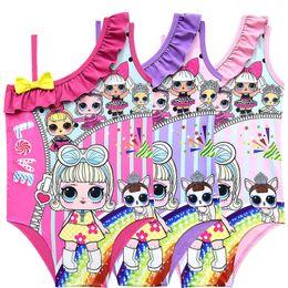 $enCountryForm.capitalKeyWord Australia - Cartoon Surprise Dolls Swimsuit Baby Girls Swimwear Summer Ruffle Bow Swimming Suit Kids Designer One Piece Beach Clothing 100-140cm A21904