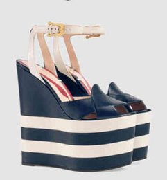 High Heels Sandals Photos UK - New Designer Red Snake Designer Wedge Sandals Women Peep Toe Thick High Platform Shoes Women Cut-out Ankle Strap Wedge Shoes Real Photo