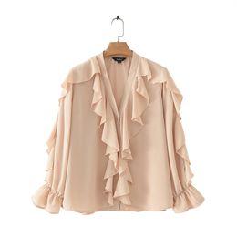 $enCountryForm.capitalKeyWord Australia - Women Stylish Chiffon Blouse Ruffled Transparent V Neck Long Sleeve Female Summer Sweet Wear Top Blusas Lb110