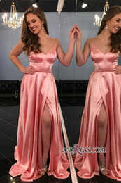 $enCountryForm.capitalKeyWord NZ - Sexy Deep V-Neck Side-Slit Spaghetti-Straps Water A-Line Prom Dresses Cheap Elastic Satin Evening Gowns Plus Size Special Occasion Dresses