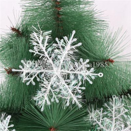 white christmas decor NZ - 3pcs lot 11cm Christmas White Snowflake Xmas Trees Hang Pendant Windows Home Decor Party Decor Xmas Party Holiday Christmas Ornaments