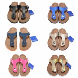 Black leather clogs online shopping - new Gizeh Soft Footbed street summer Women Leather flats sandals Cork slippers unisex Sandy Clogs shoes Metallic Copper size