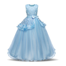 China Teenage Girls Dresses For Girl 10 12 14 Year Birthday Fancy Prom Gown Flower Wedding Children Princess Party Dress Kids Clothing J190506 supplier pale blue prom dress suppliers