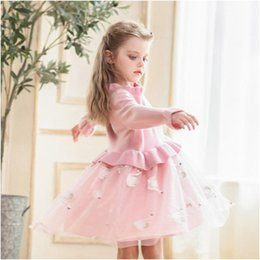Girls cotton knit dresses online shopping - Kids Luxury Dress Girls Brand Knitted Mesh Puff Princess Dress Childrens Swan Print Skirt Solid Color Lace Dresses Girl Clothing